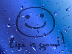 Smile. Life is good. inscription on wet glass Stock Illustration