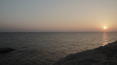 Sunset at Rosh Hanikra grottoes - looking west into the sunset. Stock Footage
