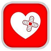 heart with adhesive bandage sign - stock photo