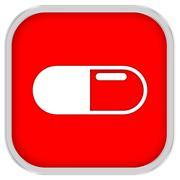 White pills sign Stock Photos