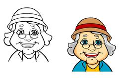 happy senior grandmother - stock illustration
