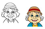 Stock Illustration of happy senior grandmother