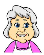 smiling senior woman - stock illustration