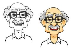 cartoon senior man - stock illustration