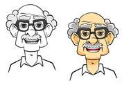 Stock Illustration of cartoon senior man