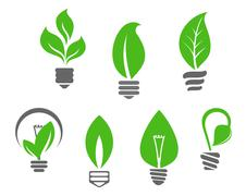 light bulbs with green leaves - stock illustration