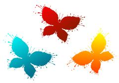 butterflyes as a colorful blots - stock illustration