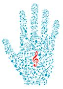 human hand with musical notes and elements - stock illustration