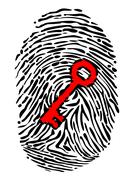 Fingerprint and key Stock Illustration