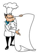 cartoon smiling chef with menu - stock illustration