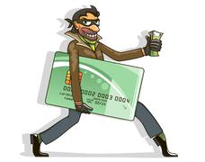 thief steals credit card and money - stock illustration