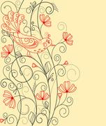 Abstract floral background with bird Stock Illustration