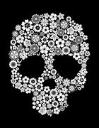 human skull in floral style - stock illustration