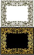 Golden frame with decorative floral elements Stock Illustration