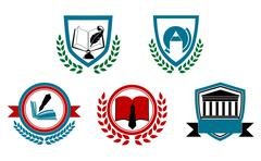 set of abstract university or college symbols - stock illustration