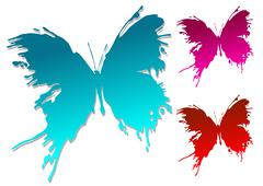 colourful butterfly blots - stock illustration