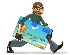Stock Illustration of hacker or thief stealing credit card