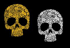 Stock Illustration of floral skull in retro style