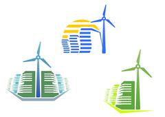 Houses with wind turbines Stock Illustration