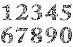 digits and numbers with floral elements - stock illustration