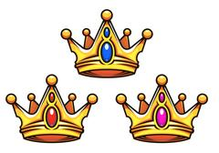 colden royal crowns with jewelry elements - stock illustration