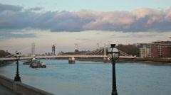 Albert Bridge, London sunset time lapse track 4K version Stock Footage