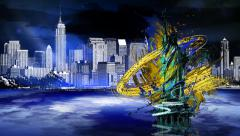 Statue of Liberty Sketch Stock Footage