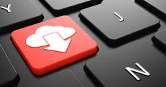 Cloud Icon on Red Keyboard Button. - stock illustration