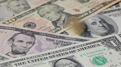 U.S.dollar spiraling on U.S.banknotes Stock Footage