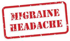 Migraine headache rubber stamp Stock Illustration