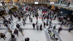 Liverpool Train Station in London in Timelapse in Rush Hour - stock footage