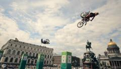 FMX show - Jumps on the motorcycle and ATV Stock Footage