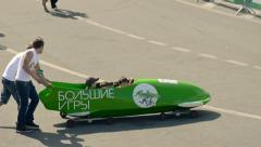 Bobsled on wheels Stock Footage