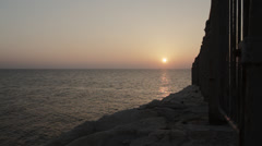 Sunset at Rosh Hanikra grottoes - Railway view Stock Footage