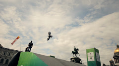 FMX show - Jumps on the motorcycle Stock Footage