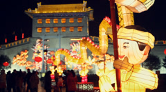 Lanterns decorations and people roaming during chinese spring festival Stock Footage