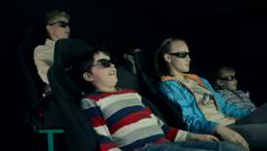 4d cinema movie with 3d glasses Stock Footage