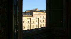 View from Vatican museum window Stock Footage