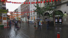 Chinatown in London in Timelapse on a Rainy Day Stock Footage