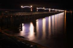 White Rock Pier Night, British Columbia Stock Photos