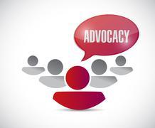 advocacy message and team illustration - stock illustration