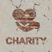 Charity Concept on the Brick Wall. Stock Illustration