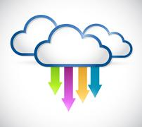 cloud arrows destinations illustration - stock illustration
