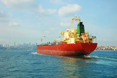 A cargo ship in the Bosphorus, Istanbul, Turkey Stock Photos