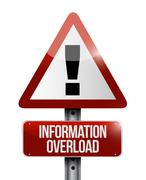 information overload warning sign illustration - stock illustration