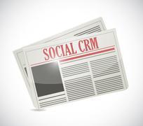 social crm newspaper illustration design - stock illustration