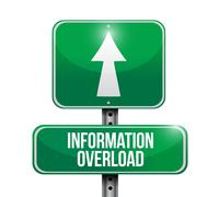 information overload road sign illustration - stock illustration