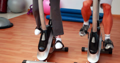 Group doing a spinning class Stock Footage