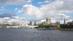 London and the Thames River with Boats in Timelapse Stock Footage