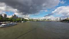 The Thames in London in Timelapse with Clouds and Boats Stock Footage